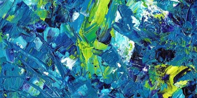 Abstraktes blau-grünes Bild