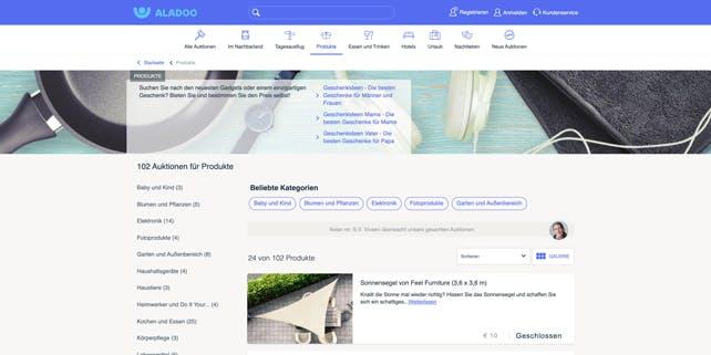 Ein Screenshot der Aladoo Website