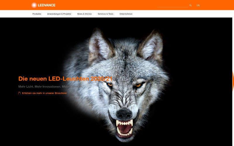 Screenshot Ledvance: Wolf fletscht Zähne