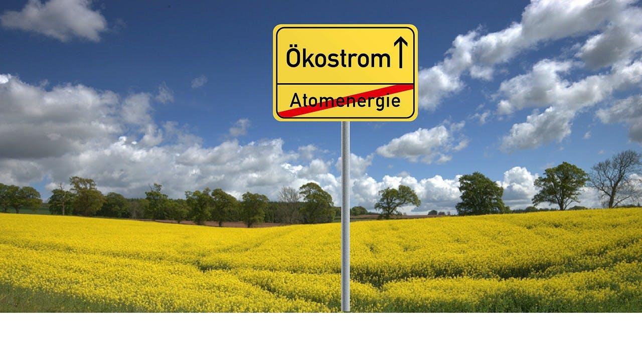 Schild, auf dem Atomenergie durchgestrichen ist und das den Weg zum Ökostrom weist