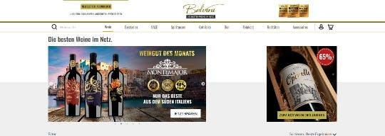 Screenshot Belvini Startseite