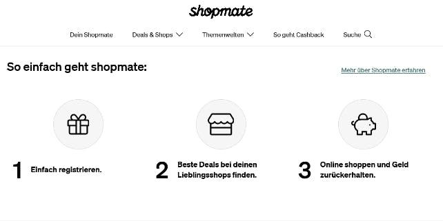 Ausschnitt der shopmate Webseite