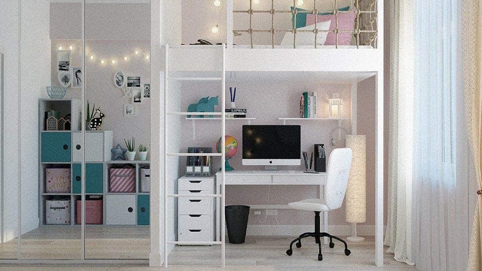 Studentenzimmer mit Hochbett, Schreibtisch und Kleiderschrank
