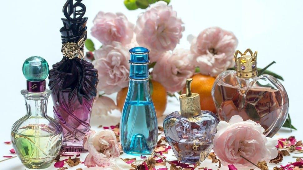 Fünf verschiedene Parfums umgeben von Rosen und Orangen
